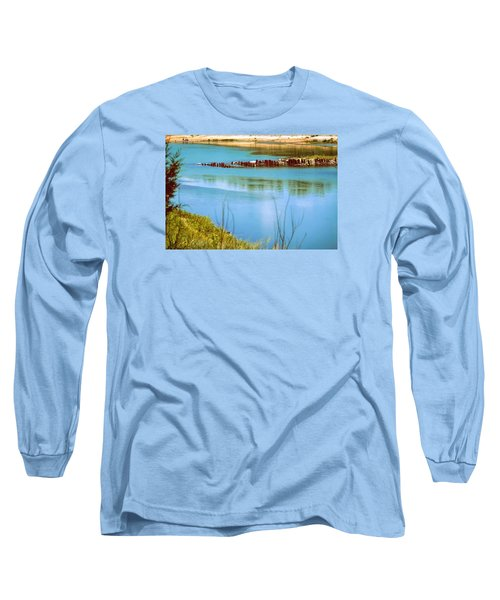 Long Sleeve T-Shirt featuring the photograph Red River Crossing Old Bridge by Diana Mary Sharpton