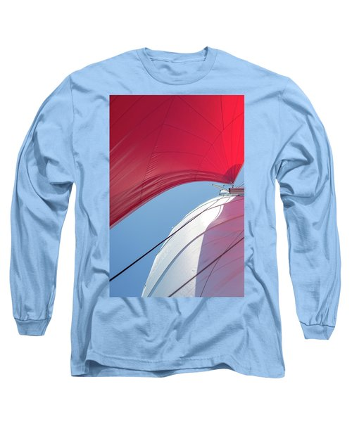 Long Sleeve T-Shirt featuring the photograph Red Sail On A Catamaran 4 by Clare Bambers