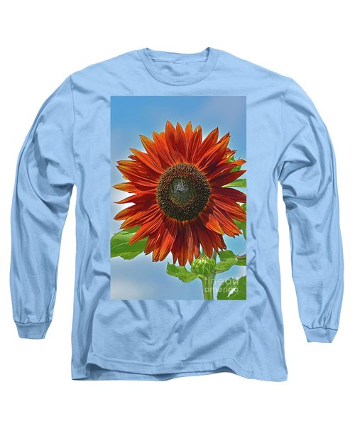 Red Sunflower Portrait Long Sleeve T-Shirt