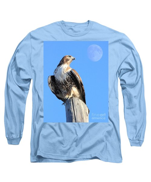 Red Tailed Hawk And Moon Long Sleeve T-Shirt