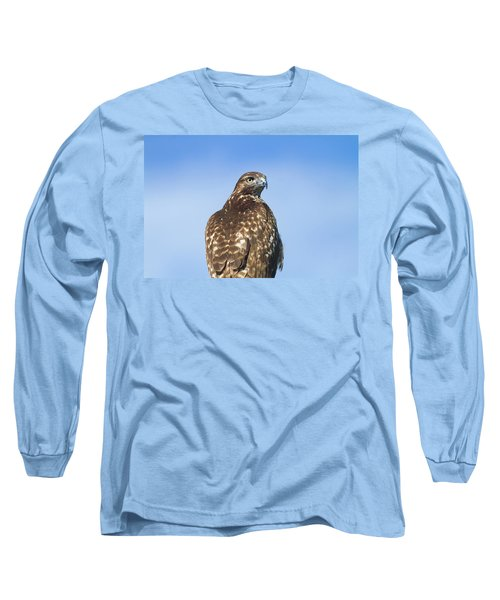 Red-tailed Hawk Perched Looking Back Over Shoulder Long Sleeve T-Shirt