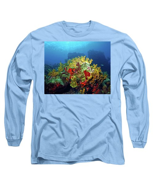 Reef Scene With Divers Bubbles Long Sleeve T-Shirt