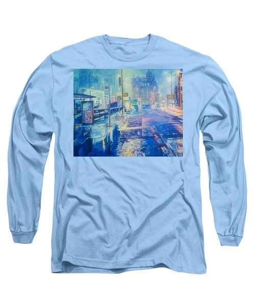 Reflections At Night In Manchester Long Sleeve T-Shirt
