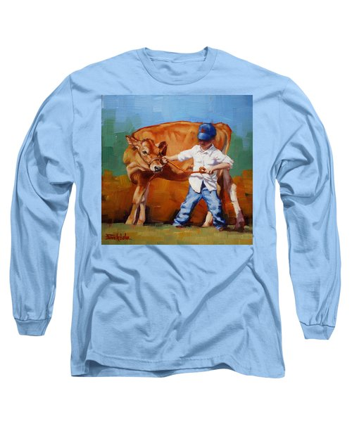Long Sleeve T-Shirt featuring the painting Reluctant Showgirl by Margaret Stockdale