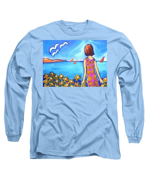 Long Sleeve T-Shirt featuring the painting Remembering Joy by Winsome Gunning