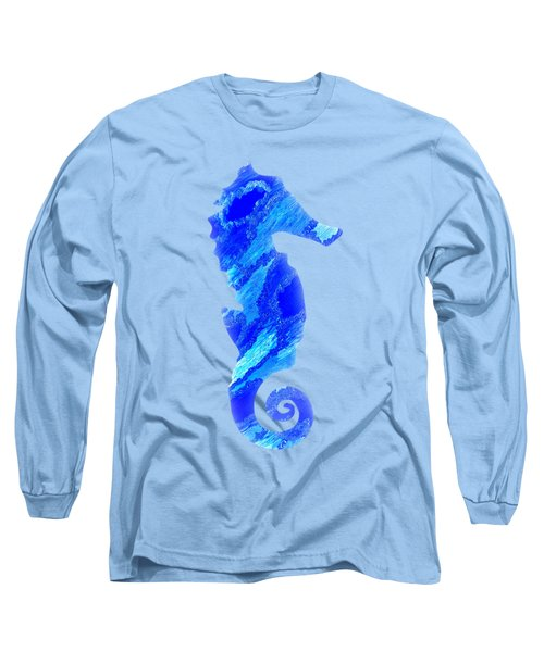 Long Sleeve T-Shirt featuring the mixed media Right Facing Seahorse Bt by Rachel Hannah