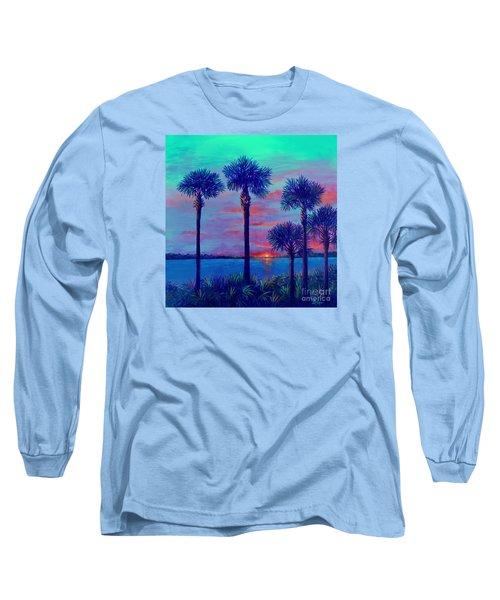 Ringling Bridge Sunset Long Sleeve T-Shirt by Lou Ann Bagnall