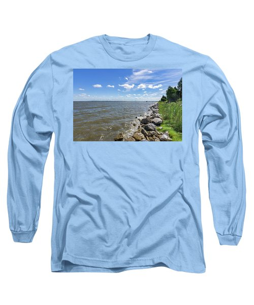 Long Sleeve T-Shirt featuring the photograph Rip-rap On The Chester River by Charles Kraus