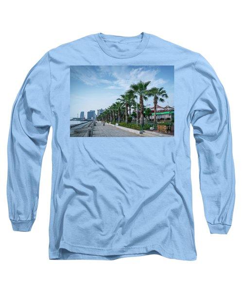Riverside Promenade Park And Skyscrapers In Downtown Xiamen City Long Sleeve T-Shirt
