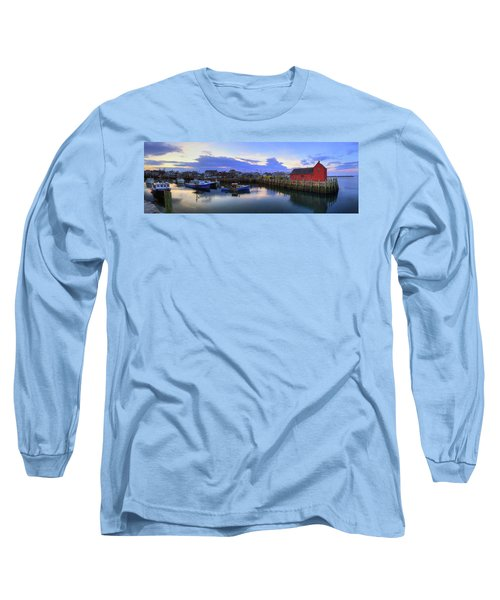 Long Sleeve T-Shirt featuring the photograph Rockport Harbor Sunset Panoramic With Motif No1 by Joann Vitali