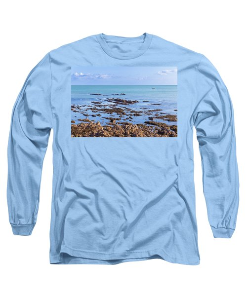 Rocks And Seaweed And Seagulls In The Irish Sea At Howth Long Sleeve T-Shirt by Semmick Photo