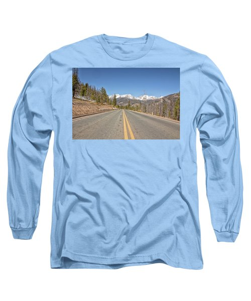 Rocky Mountain Road Heading Towards Estes Park, Co Long Sleeve T-Shirt by Peter Ciro