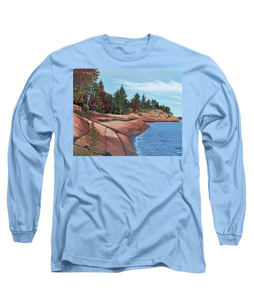 Long Sleeve T-Shirt featuring the painting Rocky River Shore by Kenneth M Kirsch
