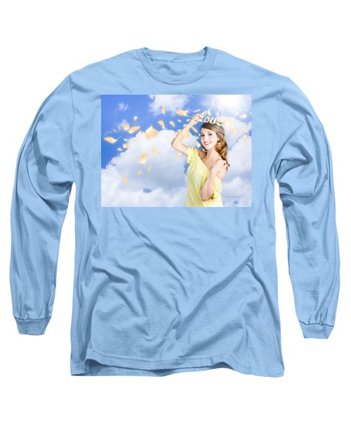 Romantic Woman Dreaming Of A Sky Filled Romance Long Sleeve T-Shirt