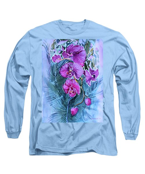 Long Sleeve T-Shirt featuring the painting Rose Orchids by Mindy Newman