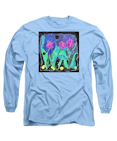 Roses And Lemons Long Sleeve T-Shirt by Debra Baldwin