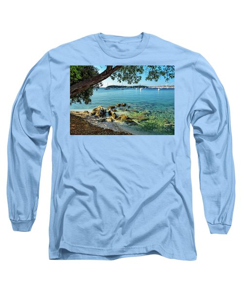 Rovinj Old Town, Harbor And Sailboats Accross The Adriatic Through The Trees Long Sleeve T-Shirt