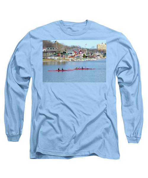 Rowing Along The Schuylkill River Long Sleeve T-Shirt
