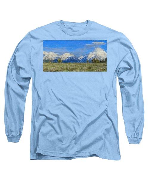 Rustic Grand Teton Range On Wood Long Sleeve T-Shirt by Dan Sproul