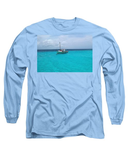 Sailboat Drifting In The Caribbean Azure Sea Long Sleeve T-Shirt