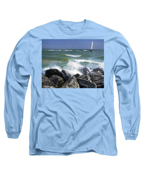 Sailboat Sailing Off The Shore At Ottawa Beach State Park Long Sleeve T-Shirt