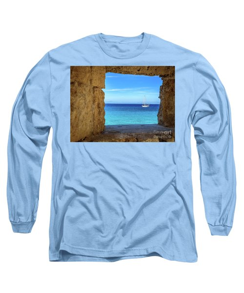 Sailboat Through The Old Stone Walls Of Rhodes, Greece Long Sleeve T-Shirt