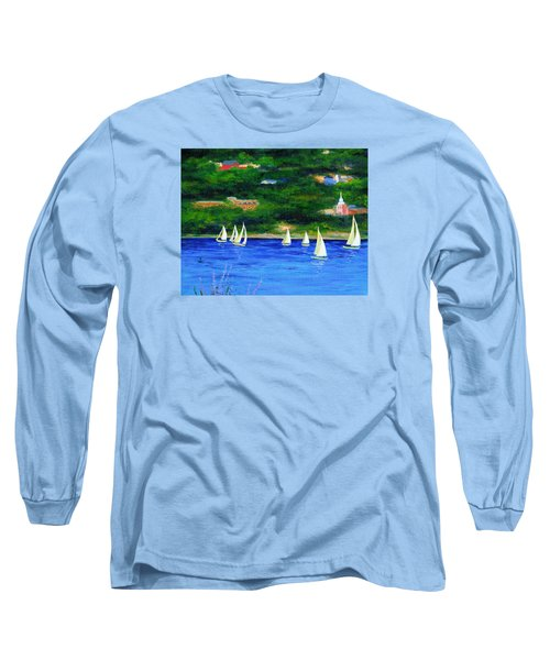 Sailboats On Hudson Long Sleeve T-Shirt by Anne Marie Brown