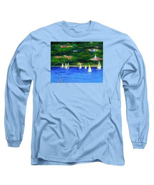 Sailboats On Hudson Long Sleeve T-Shirt