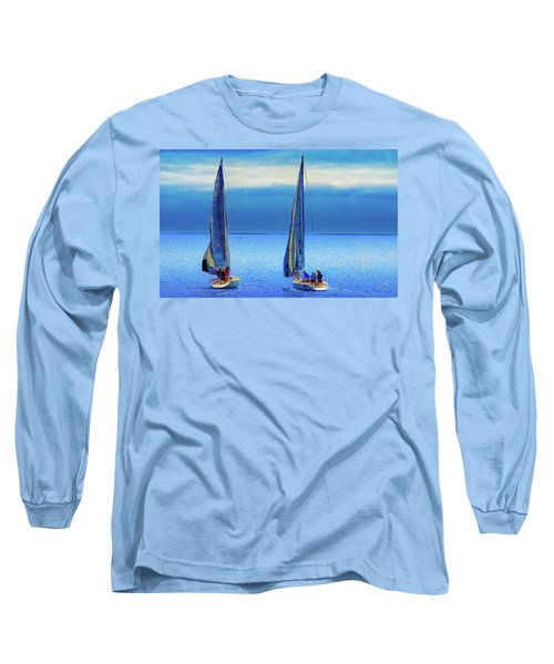 Sailing In The Blue Long Sleeve T-Shirt by Joseph Hollingsworth