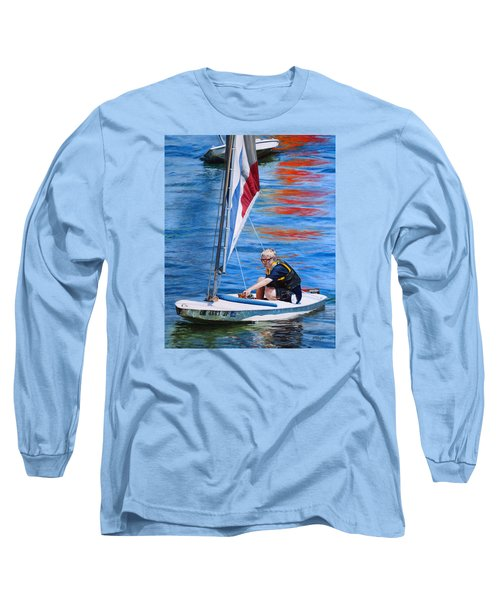 Long Sleeve T-Shirt featuring the painting Sailing On Lake Thunderbird by Joshua Martin