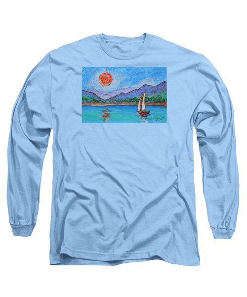 Long Sleeve T-Shirt featuring the painting Sailing Red Sun by Xueling Zou