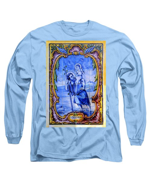 Saint Christopher Carrying The Christ Child Across The River - Near Entrance To The Carmel Mission Long Sleeve T-Shirt