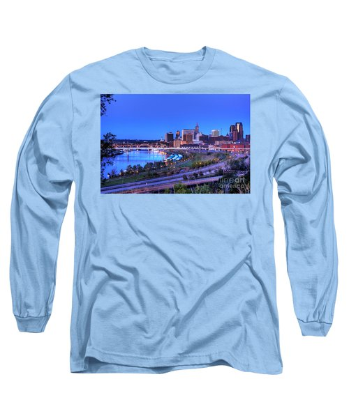 Saint Paul Minnesota Skyline Blue Morning Light Long Sleeve T-Shirt