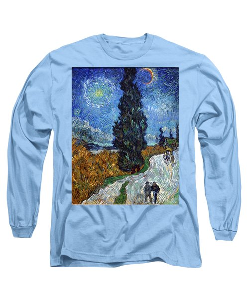 Saint-remy Road With Cypress And Star Long Sleeve T-Shirt