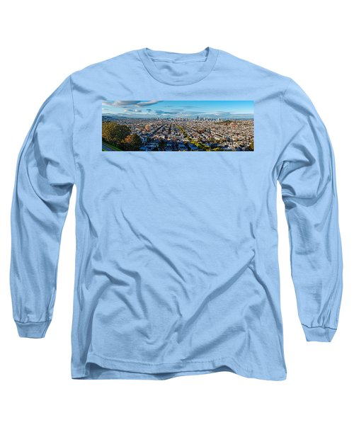San Francisco Skyline From Bernal Heights Park At Sunset - San Francisco California Long Sleeve T-Shirt
