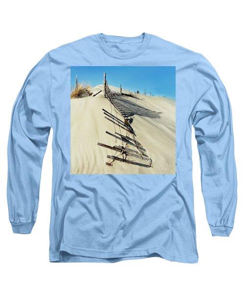 Sand Dune Fences And Shadows Long Sleeve T-Shirt by Gary Slawsky