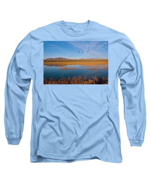 Sandhill Cranes In Flight Long Sleeve T-Shirt