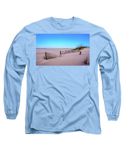 Sand  Fences On The Bogue Banks Long Sleeve T-Shirt by John Harding