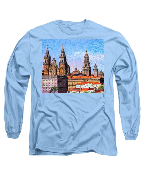 Long Sleeve T-Shirt featuring the painting Santiago De Compostela, Cathedral, Spain by Jane Small