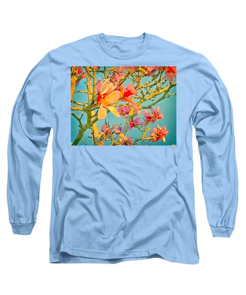 Saucer Magnolia Long Sleeve T-Shirt by Angela Annas