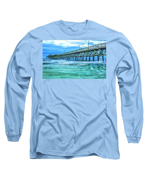 Sea Blue Cherry Grove Pier Long Sleeve T-Shirt