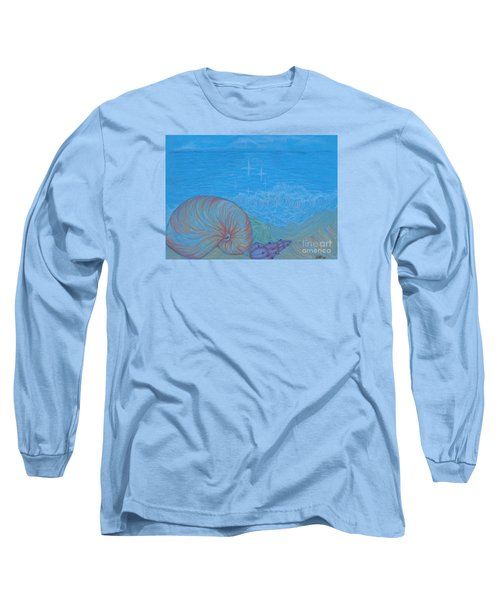 Long Sleeve T-Shirt featuring the drawing Sea Shore by Kim Sy Ok