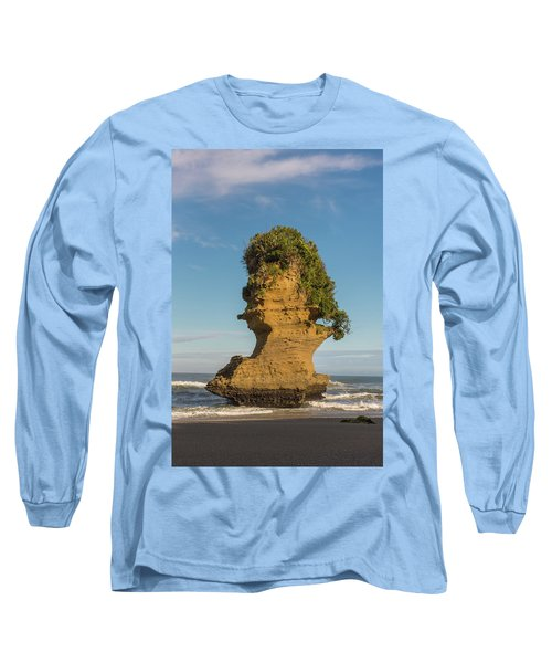 Long Sleeve T-Shirt featuring the photograph Sea Stack, Punakaiki Beach by Gary Eason