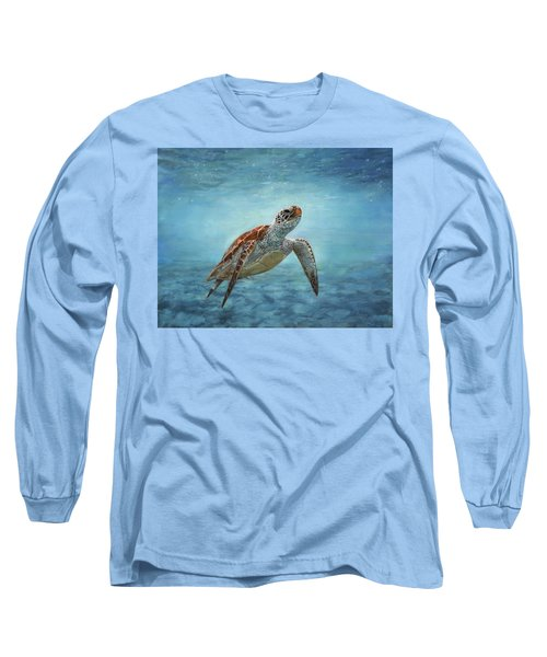 Sea Turtle Long Sleeve T-Shirt by David Stribbling
