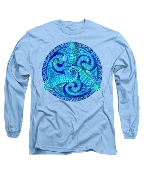 Seahorse Triskele Long Sleeve T-Shirt by Rebecca Wang