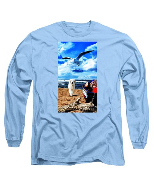 Long Sleeve T-Shirt featuring the digital art Seascape - Paesaggio Marino by Zedi