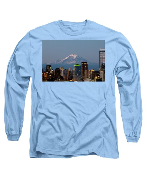 Long Sleeve T-Shirt featuring the photograph Seattle-mt. Rainier In The Morning Light.2 by E Faithe Lester