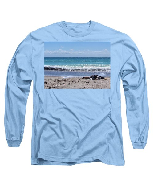 Long Sleeve T-Shirt featuring the photograph Shells On The Beach by Sandi OReilly