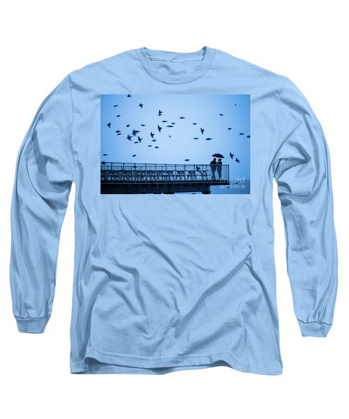 Sheltering Under An Umbrella Watching The Birds Long Sleeve T-Shirt
