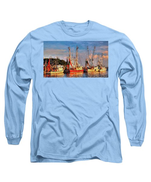 Shrimp Boats Shem Creek In Mt. Pleasant  South Carolina Sunset Long Sleeve T-Shirt